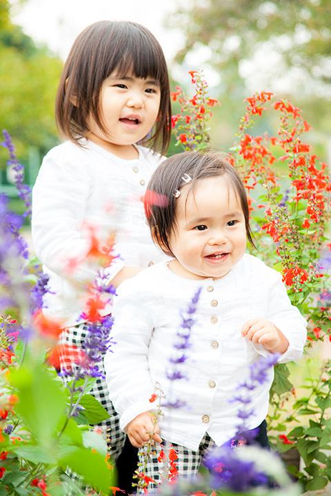 姉妹でわくわくお花畑