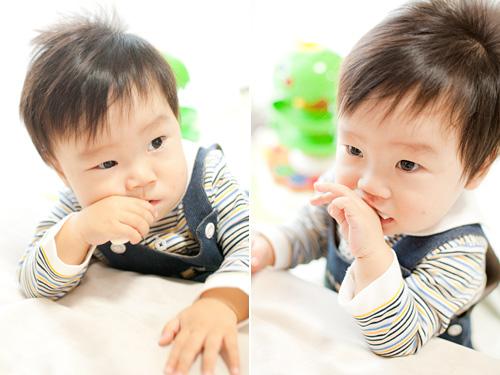 おやつを食べる男の子
