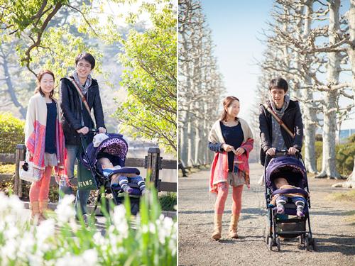 お散歩するご家族