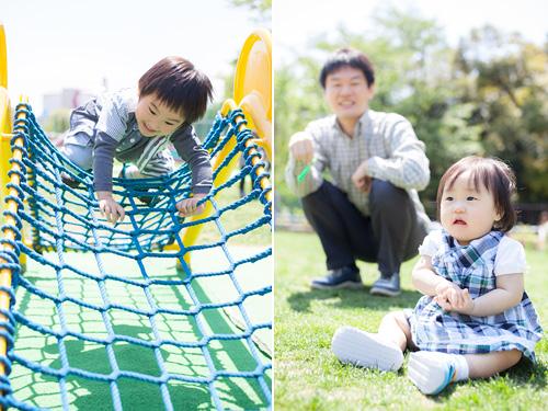 遊具で遊ぶ男の子とそれを見守る女の子