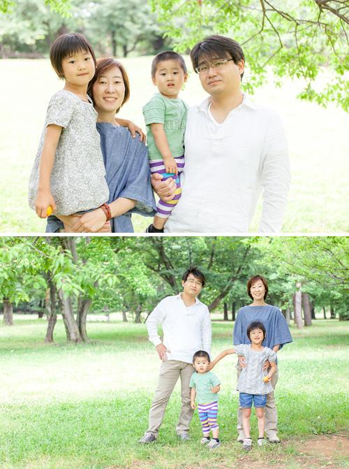 木陰で家族写真
