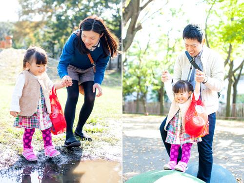 公園内で遊ぶ女の子
