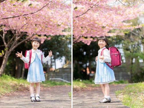 桜の下でポーズをとる女の子