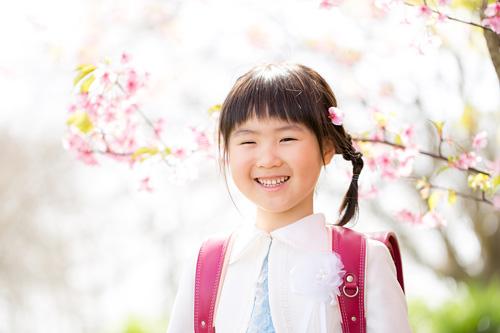 桜の花びらを髪につけた女の子